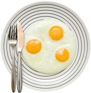 Three Fried Eggs on a Plate
