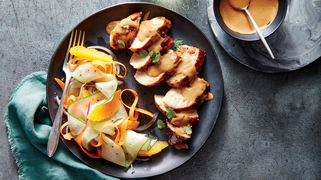 grilled chicken breasts satay sauce
